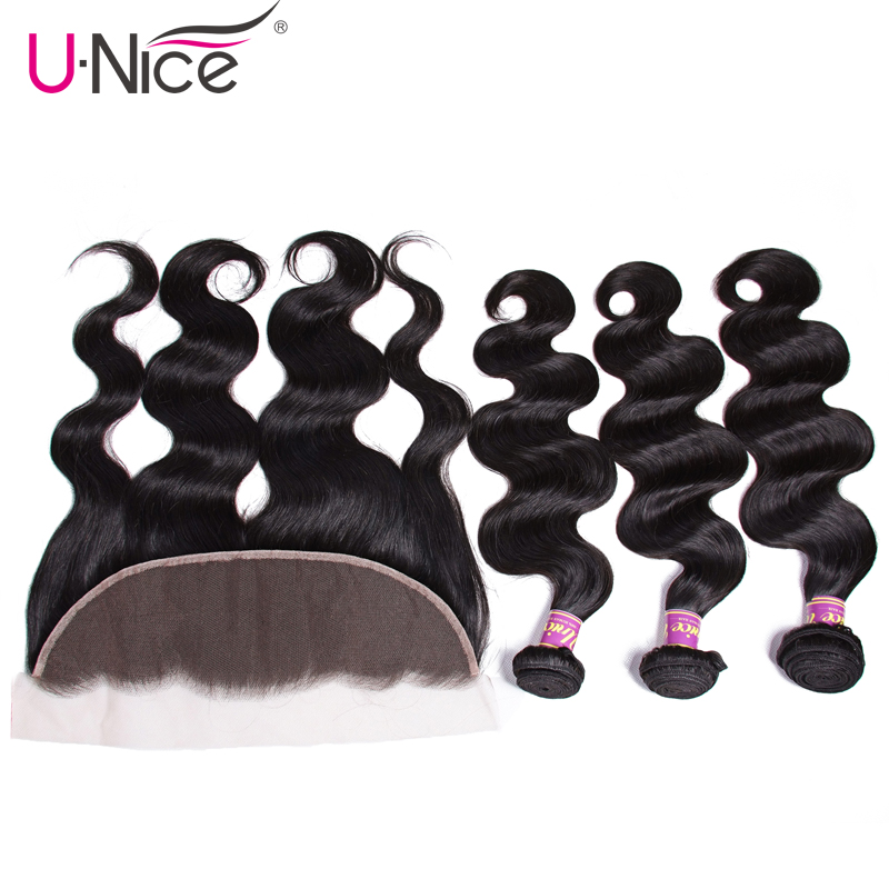 Unice Hair Indian Body Wave Human Hair Bundles With Closure Pre Plucked Lace Frontal Closure With