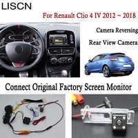 Cámara de visión trasera de marcha atrás para Renault Clio 4 IV 2012 ~ 2018 conectar Original Monitor de pantalla de fábrica placa de matrícula cámara de luz