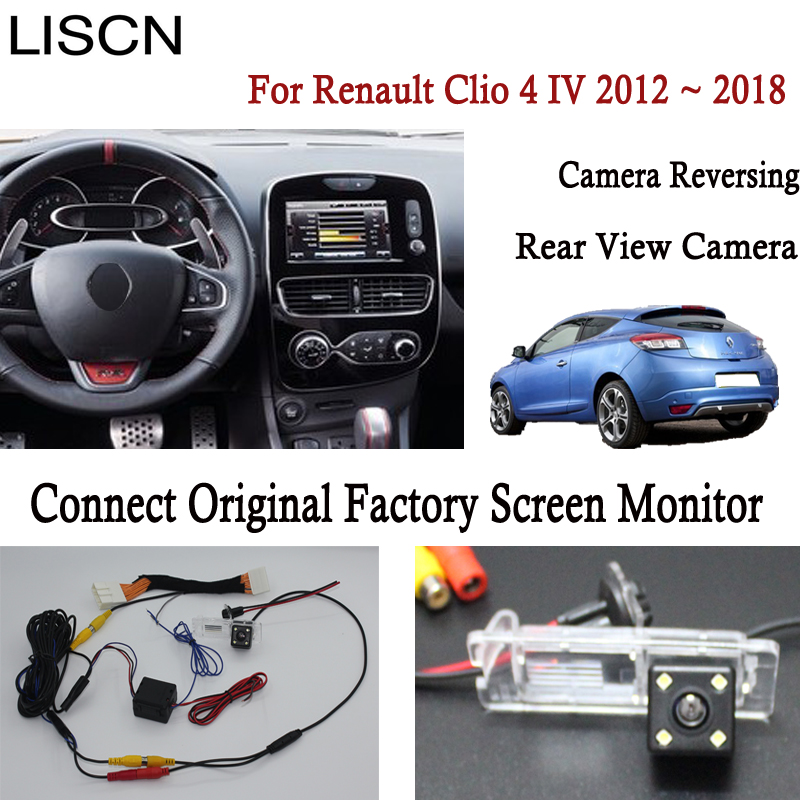 Reversing Rear View Camera For Renault Clio 4 IV 2012 ~ 2018 Connect Original Factory Screen Monitor License Plate Light Camera