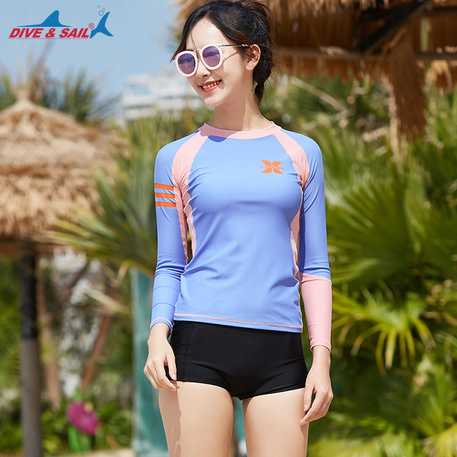 c0271db0b4 Women's Rash Guards 2 piece Set Long Sleeve Rash Guard Shirts Boat Shorts  UV Sun Protection UPF 50+ Wetsuit Swimsuit Men's