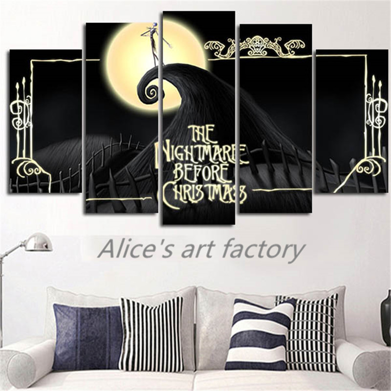 5Piece Wall Art Painting Movie Posters Pictures Nightmare Before - nightmare before christmas bedroom decor