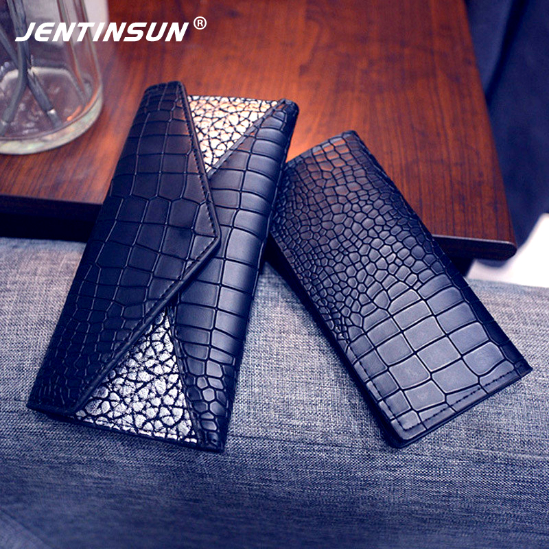 Women Wallets Crocodile Pattern Genuine Leather Wallet Female Long Coin Purse Clutch Luxury Brand Card Holder Phone Bag carteira 2017 luxury brand men genuine leather wallet top leather men wallets clutch plaid leather purse carteira masculina phone bag
