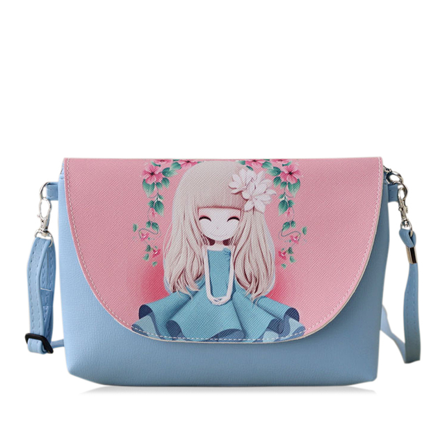 NEW Cartoon Printing Women Bag Female PU Leather Mini Crossbody Shoulder  bags Girls Children Messenger bag bolsa feminina