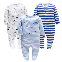Picturesque Childhood Baby Pyjamas Newborn Blue Footies Baby Tiny Cotton Strip Full India Sedan 105