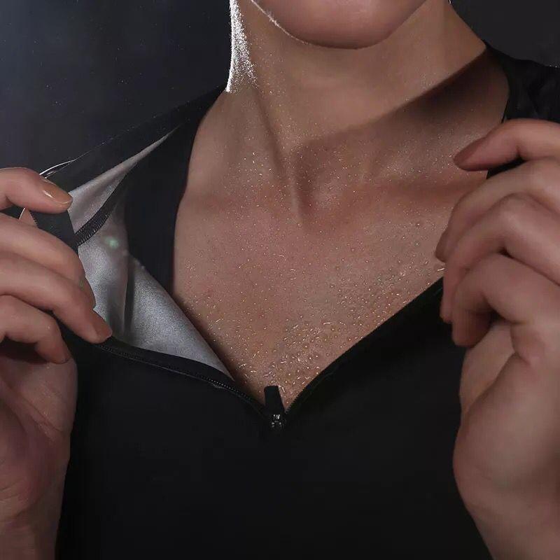 Hot Sweat Yoga Shirts Slim Half Zipper Fitness Jogging Running Sport T-Shirts Loose Weight Body Shaper Women Yoga Tops Plus Size