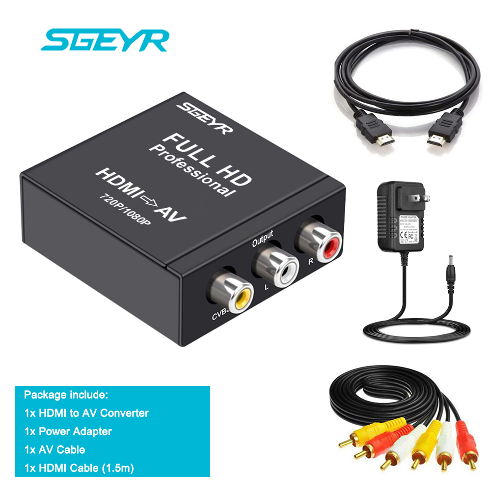 OcioDual Convertidor de Se/ñal HDMI Digital a AV RCA Anal/ógica Transformador Adaptador Conversor Audio Video con Escalador Blanco