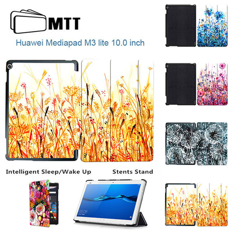 MTT M3 Lite 10.0 10.1 Stand Leather Case Floral Painting Cover For Huawei MediaPad M3 Lite 10 BAH-W09 BAH-AL00 10.1 tablet case image