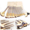 7.9in 24pcs make up brushes Set +Leather Case Women's Luxurious Style Beauty Powder Makeup Brush Tools Kit pincel