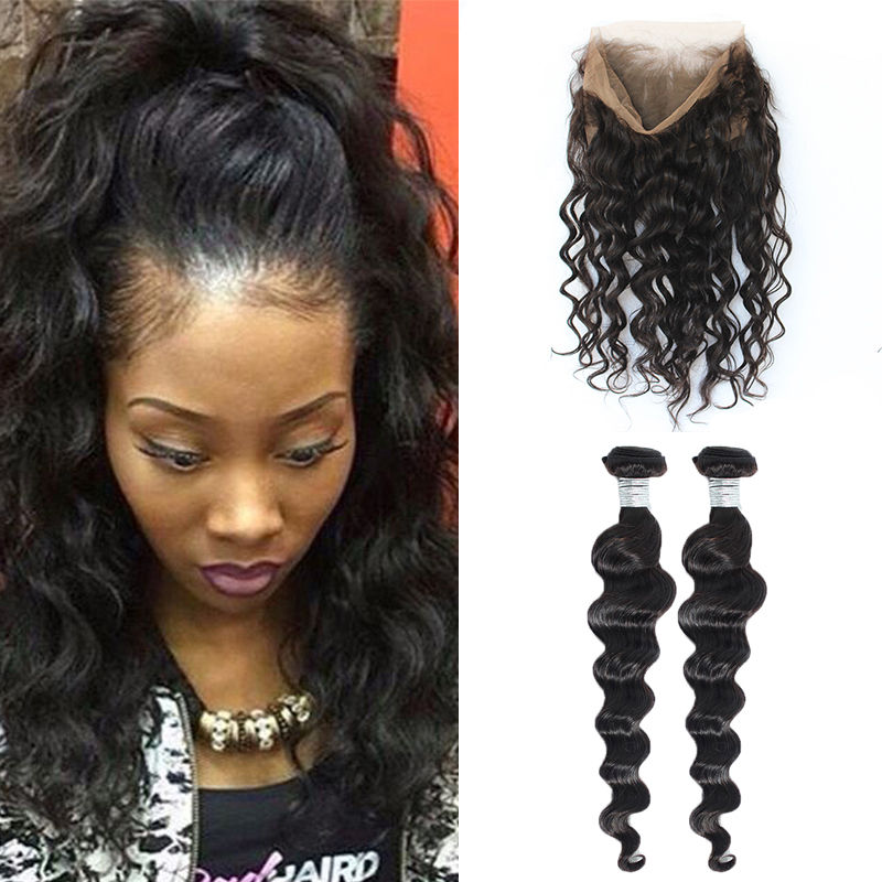 360-Lace-Frontal-With-Bundle-Pre-Plucked-360-Lace-Frontal-Closure-With-Bundles-8A-Loose-Wave