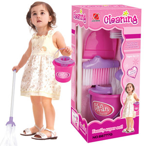 5Pcs Mini Pretend Play Mop Broom Toys Cute Infant Baby Cleaning Furniture Tools Kit Lovely Doll House Clean Toys Playhouse(China)