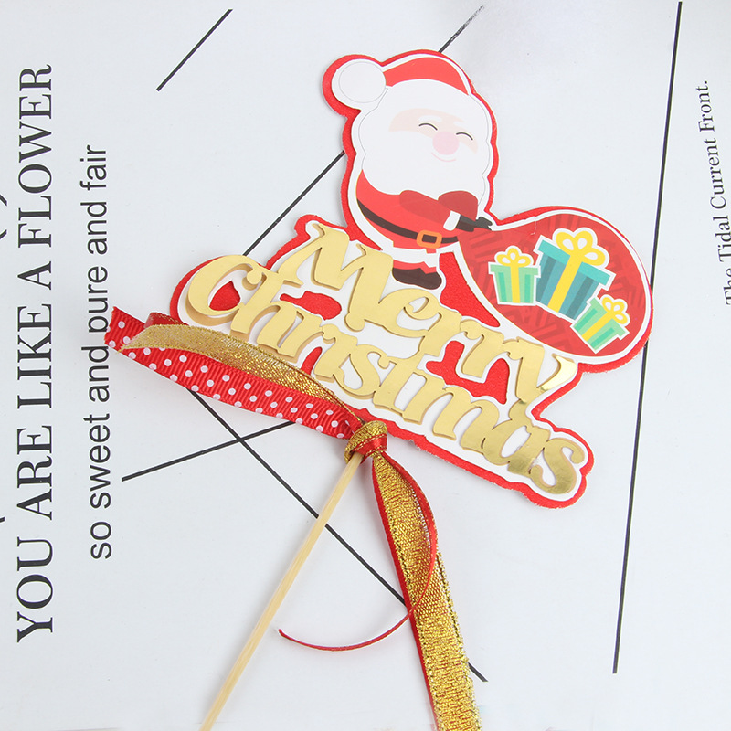 Santa Claus Cake Toppers Flags Gillter Merry Christmas Cake Topper Kids Happy Birthday Wedding Baby Shower Party Cake Baking DIY
