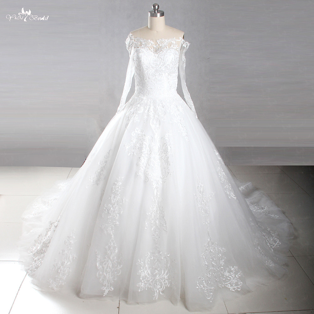 be11845b2a81 LZ223 Real Sample 2018 New Design Lace Royal Train Wedding Dresses Sexy Off  The Shoulder Long sleeve Appliques Wedding Gowns