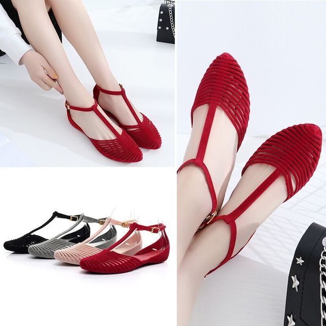 85169f74cfe692 2017 Beach Baotou Sandals Female Summer Flat Roofs Roman Retro Students  Shoes Simple Casual Jelly Shoes