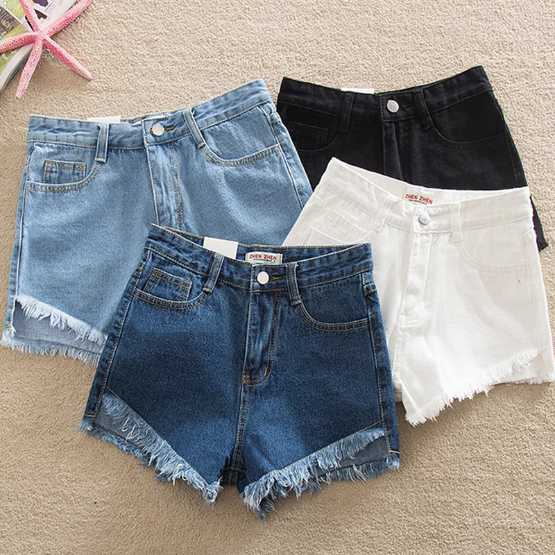 Elegant Ripped Hem Denim Shorts 2019 New Summer Mid Waist Zipper Fly Casual Woman Bottoms Straight Leg Loose Shorts Jeans(China)