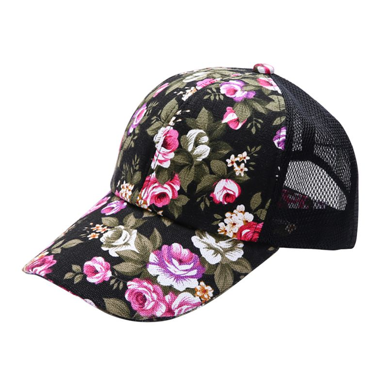 Summer Women Female Floral Hat Baseball Cap Mesh Cool Cap Sports Leisure Sun Visor Sun Hat Snapback Cap 6 Colors S4