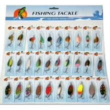 30 Pcs/set Assorted Fishing Lures Wobblers Crankbaits Laser Spinners Spoon Lure Fishing Tackle Treble Hook  Spinner Metal pesca