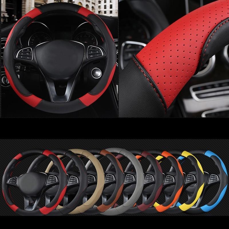 DERMAY deporte estilo de Color de contraste antideslizante sudor bueno transpirable PU de cuero de 15 pulgadas cubierta del volante del coche envío gratis
