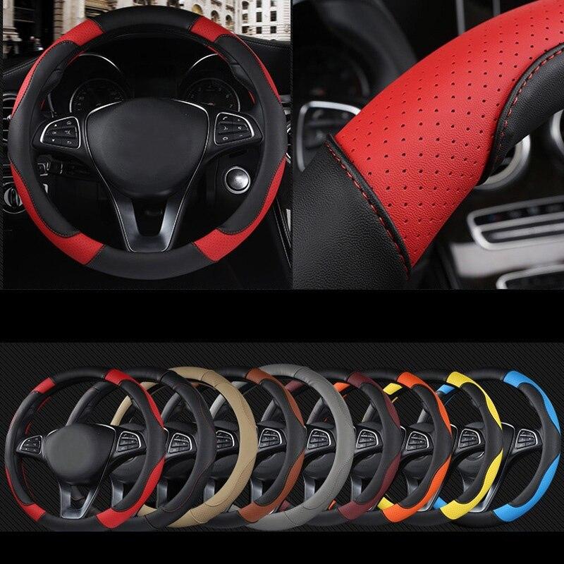 DERMAY estilo deportivo contraste Color antideslizante sudor buena transpirable cuero PU 15 pulgadas cubierta del volante del coche envío gratis
