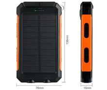 10000mAh Waterproof solar mobile power portable bank Multipurpose External Battery Pack