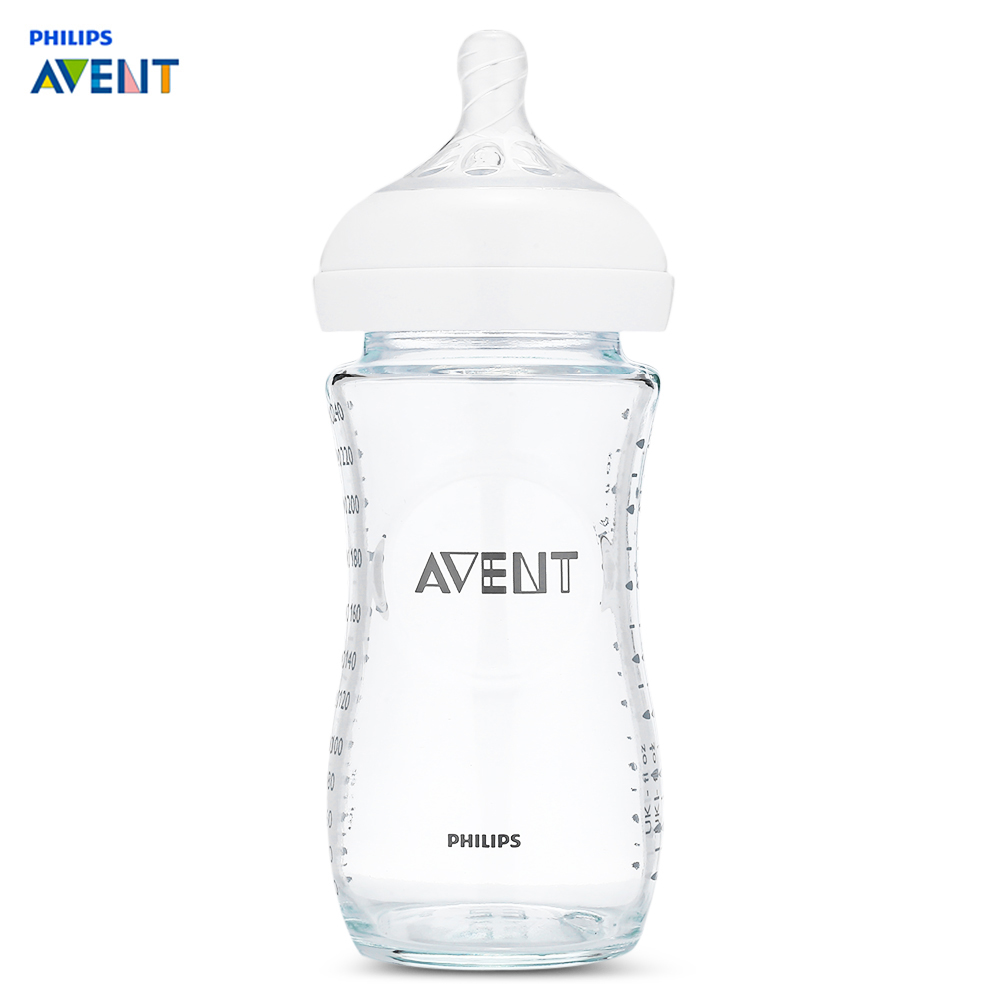 Avent 8oz / 240ml Baby Feeding Bottle 1 - 3 Months BPA Free Wide Mouth Baby Glass Milk Bottle Feeding Drinking Training Cup 240ml baby trainer feeding bottle straw cup baby kids children drinking bottle sippy cups with handles