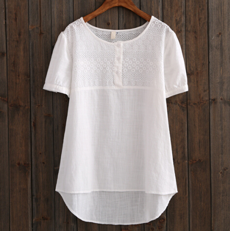 2015 Women Short Sleeve White Blouse Female Loose Plus
