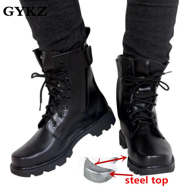 Steel Toe Military Genuine leather boots men Combat bot Infantry tactical  boots askeri bot army bots army shoes erkek ayakkabi 3adab17b2405