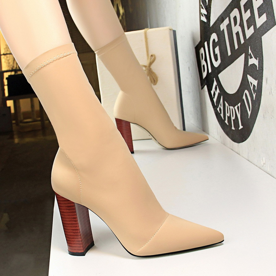 European and American fashion simple wood grain with thick with high heel pointed elastic Lycra sexy nightclub slim boots