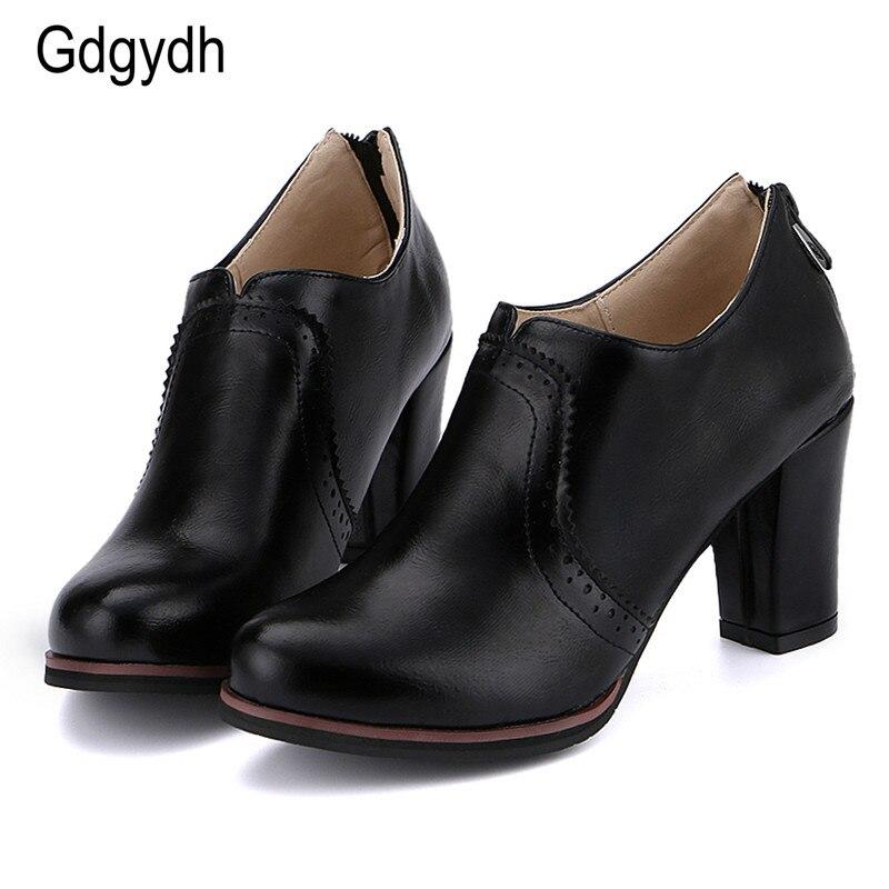 Gdgydh 2017 women pumps casual thick heels 8cm platform women single shoes round toe slip on