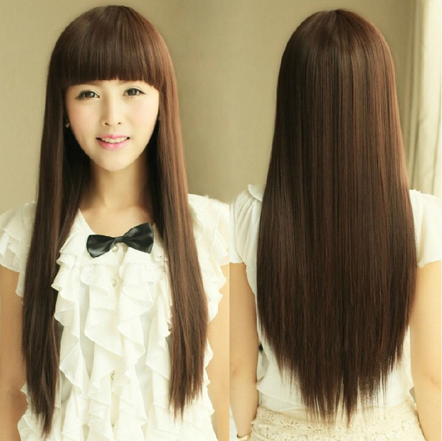f5676ed820f Women Dark Brown Hair Wig Lady Cosplay Wig Wholesale Spot Fluffy Hair Girl  Long Straight Fake Hair High Temperature Wire Hair