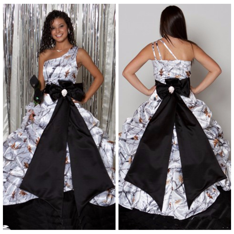 shoulder white camo ball gown