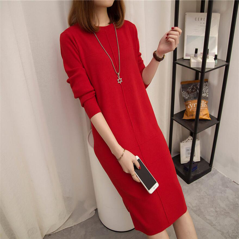 Women's Autumn Winter Slim Sweater Dress 2018 Solid Thick Dress Round Neck Long Sleeve Knit Dress Female LJ0711