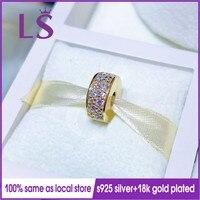 LS 2018 New 100% Gold Yellow Shining Elegance Clip Charm Fit Original Bracelets Pulseira Encantos Beads DIY Jewelry Gifts N