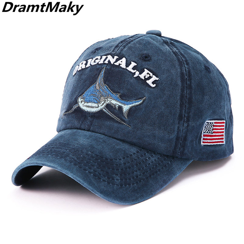 ORIGINAL, FL Shark Embroidery   baseball     cap   washed cotton men   baseball     cap   fitted   cap   snapback hat for women gorras casual   cap