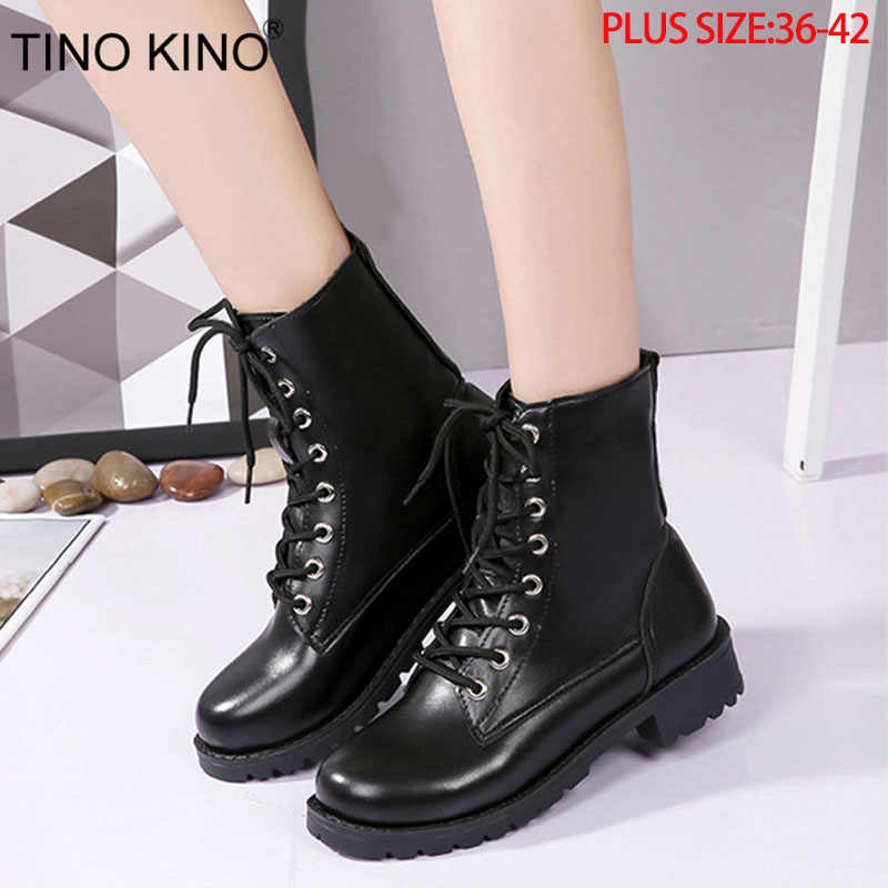 TINO KINO Women Platform Autumn Ankle Boots Ladies Lace Up Fashion Punk Motorcycle Shoes Female Thick Middle Heels Plus Size