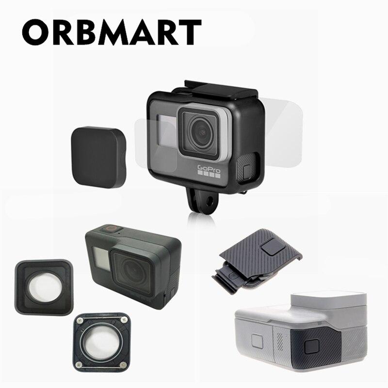 ORBMART Objektiv Kappe Abdeckung + Front Zurück Glas Screen Protector + Schutzhülle Objektiv Ersatz + Seite Tür Für GoPro Hero 5 6 7 schwarz