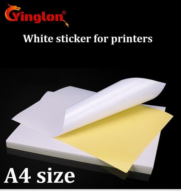 送料無料 50 ピース/ロット A4 白紙ステッカー自己粘着手書きインクジェットレーザープリンタブラウン A4 印刷ステッカー