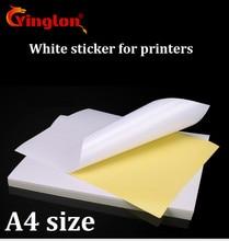 จัดส่งฟรี 50 ชิ้น/ล็อต A4 สีขาวกระดาษสติกเกอร์กาวลายมืออิงค์เจ็ทเลเซอร์สีน้ำตาล A4 พิมพ์สติกเกอร์