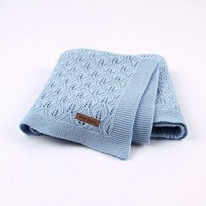Image 4 - Baby Decke Gestrickt Baumwolle Sommer Sachen Für Neugeborene Wickeln Kinderwagen Decke Kleidung Cobertor Infantil Wrap Monatliche Kinder Quilt