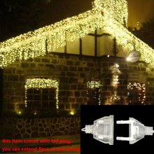 Рождественское уличное украшение, 5 м, свисает, 0,4-0,6 м, занавес, сосулька, светодиодные гирлянды, новогодние, садовые, вечерние, AC 220 В