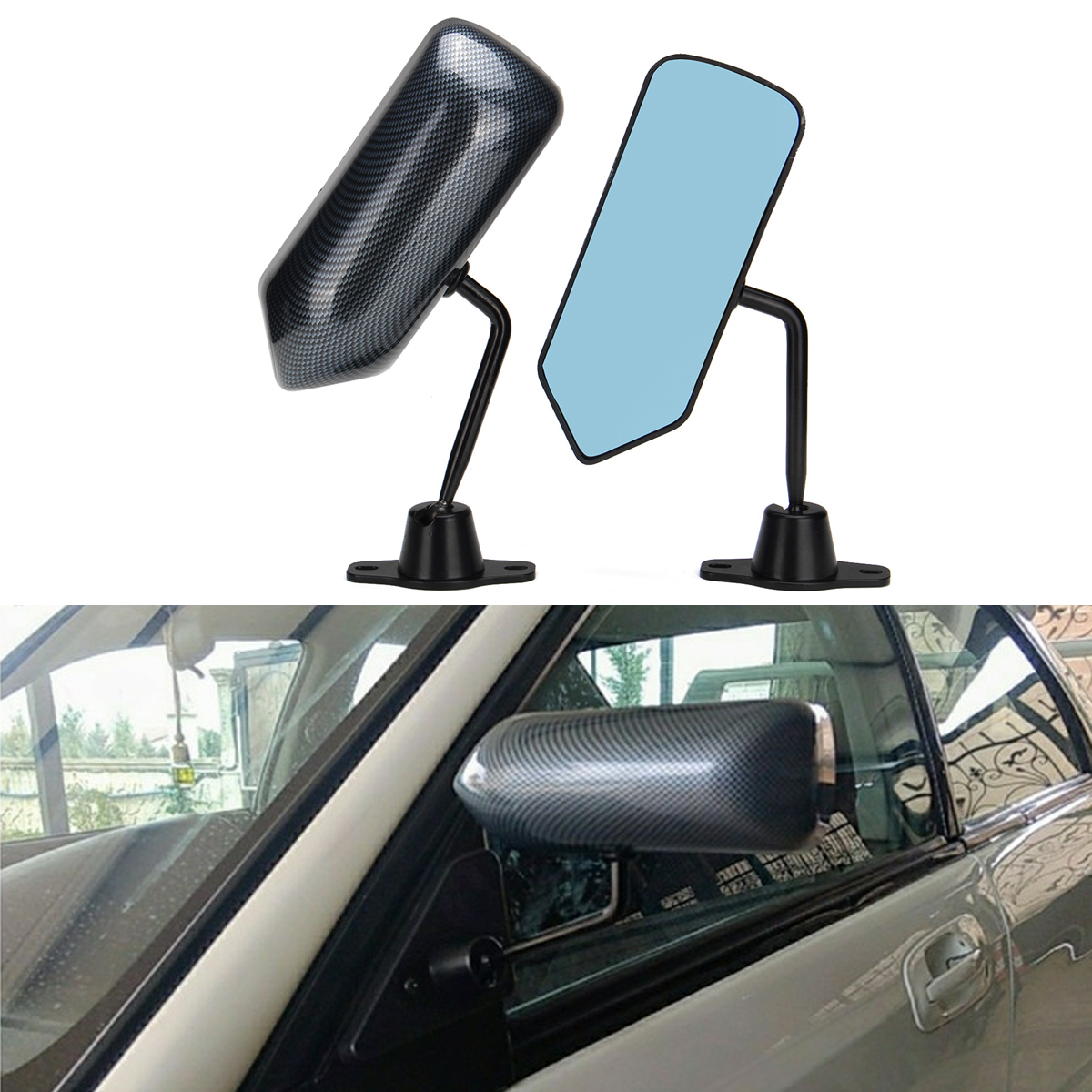 Top Racing Universal Rearview Mirror Car Modification California Zoom Spion Tengah Carbon 1 Pair Mobil Kaca Serat Karbon Autos Biru Balap Sisi Wide