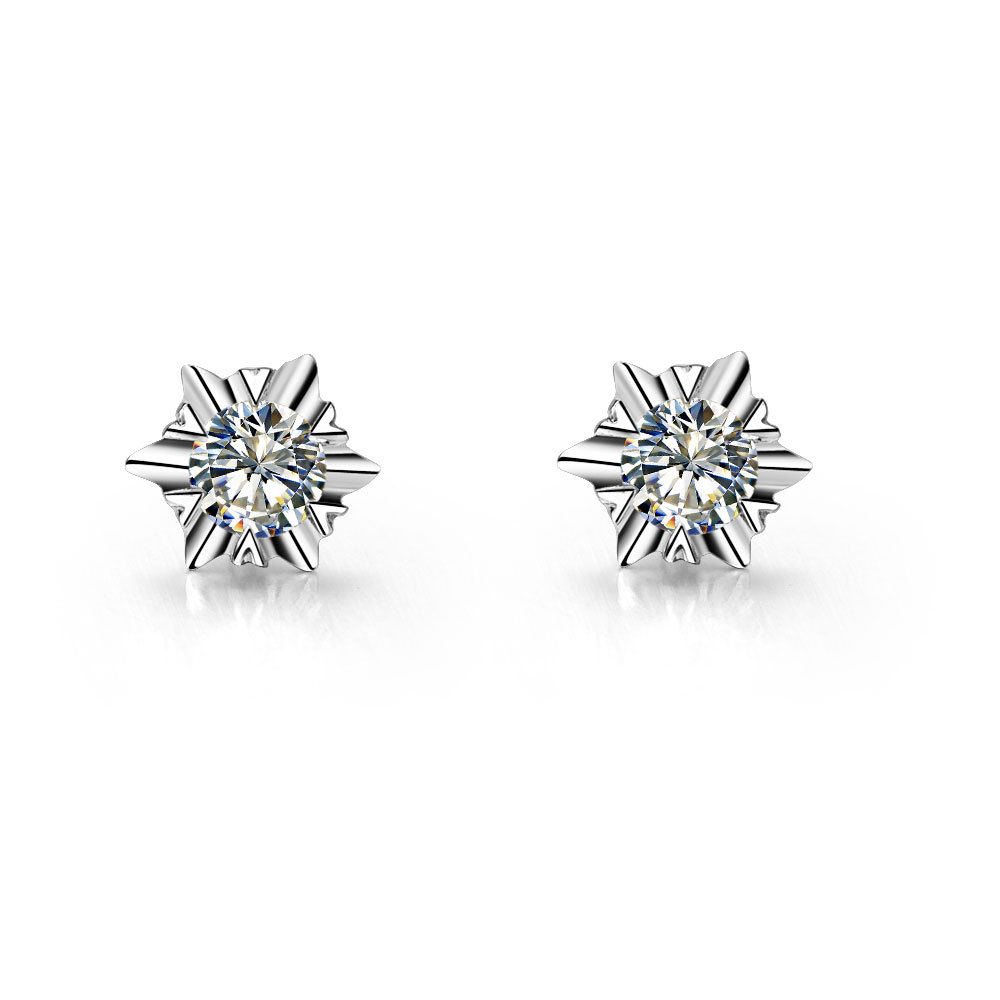 Piece Snowflake Sterling Silver Earrings Stud Solitaire  Synthetic Diamonds Stud Earrings White Gold