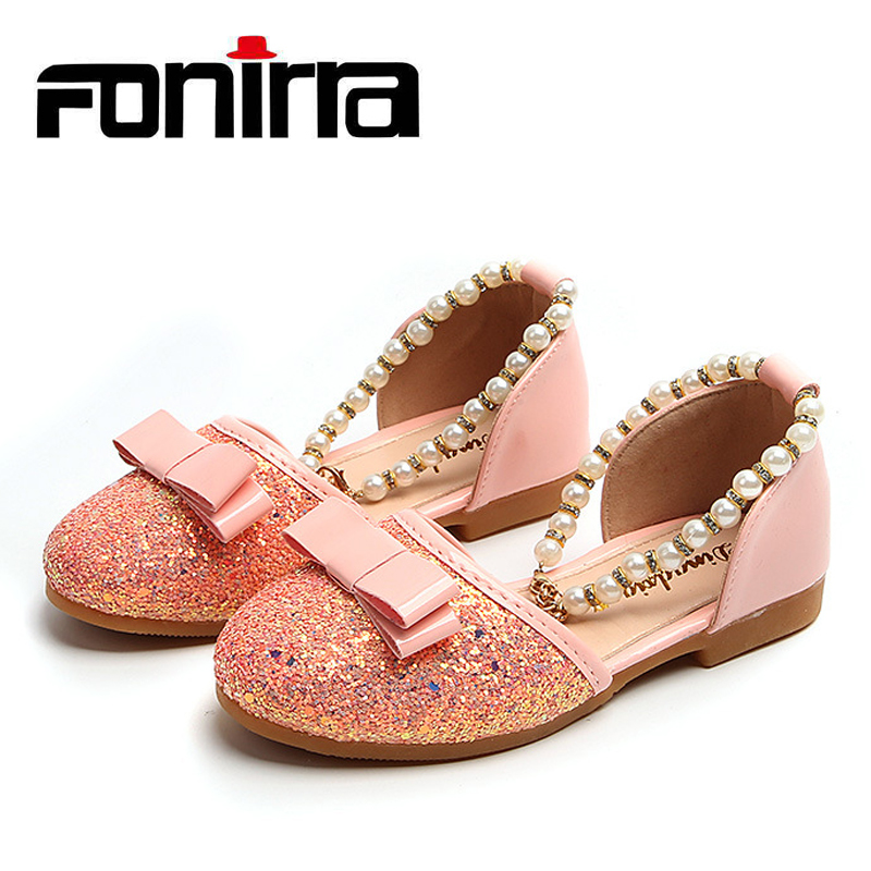 Fonirra Girls Princess Party Dance Shoes Sequins Beaded Pearl Childrens Flat With Bowtie Metal Heart Ornament Casual Shoes 446