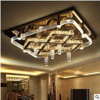 Led crystal ceiling lamp Creative bedroom lamp hall lamp modern minimalist lighting rectangular living room lighting atmosphere