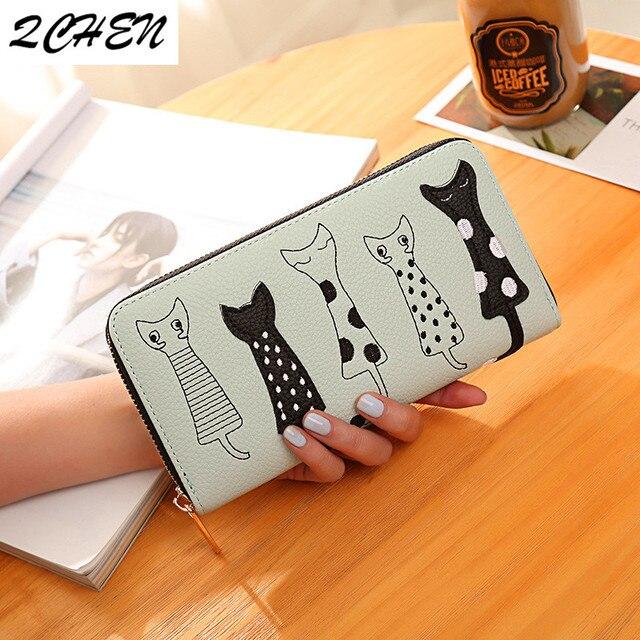 Women Cat Cartoon Wallet Luxury High Quality Creative Female Card Holder Casual Zip Ladies Clutch PU Leather Coin Purse 179Q 6