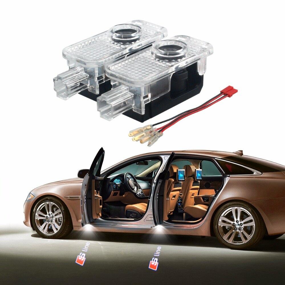 2 шт. светодиодный двери автомобиля логотип проекция Shadow Light для AUDI TT A5 B7 A4 A3 B5 B6 B8 A6 c5 C6 Q5 Q7 A4L 80 A1 A7 R8 A6L Q3 A8 S линии