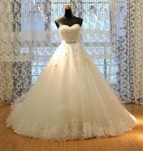Real Picture Sweetheart Lace Up Back A-line wedding dress 2015 hot sale sweetangel vestido de noiva sereia plus size Bridal Gown