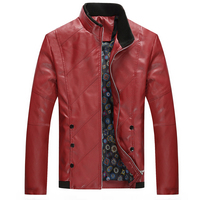 2018 Spring Autumn Men's Casual Leather Jacket, Plus Size Men's Leather Coat , Men's PU Leather Red Jackets