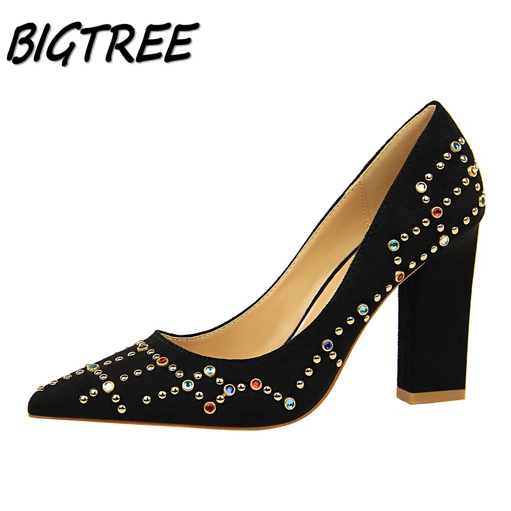 BIGTREE Women Square heel High heels Shoes Woman Pumps Ladies Fashion  Wedding Party Dress OL colorful Crystal Shallow Stilettos plus size 34 46 fashion high heels shoes women pumps square heel pointed toe dress pumps shallow party stilettos ladies footwear