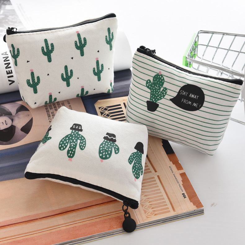 eTya Coin Wallet Women Coin Purse Cute Cactus Kids Change Pouch Female Headset Line Key Holder Bag Children Gift Money Pouch etya new women purses cute zipper small flower bag female girl headset line coin purse card bag clutch wallet key bags wholesale