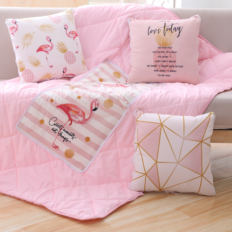 Flamingo Summer Pillow and Quilt Blanket